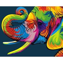 Auspicious Color Elephant Picture Painting By Numbers DIY Painting Coloring By Number Wall Art Home Decor For Living Room недорого