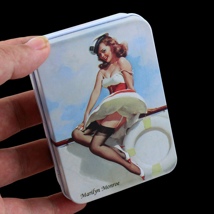 1 Piece Metal Tin Plate Hollywood Movie Star Fans Of Marilyn Monroe Creative Souvenir Rectangle Fashionable 20 Cigarettes Case
