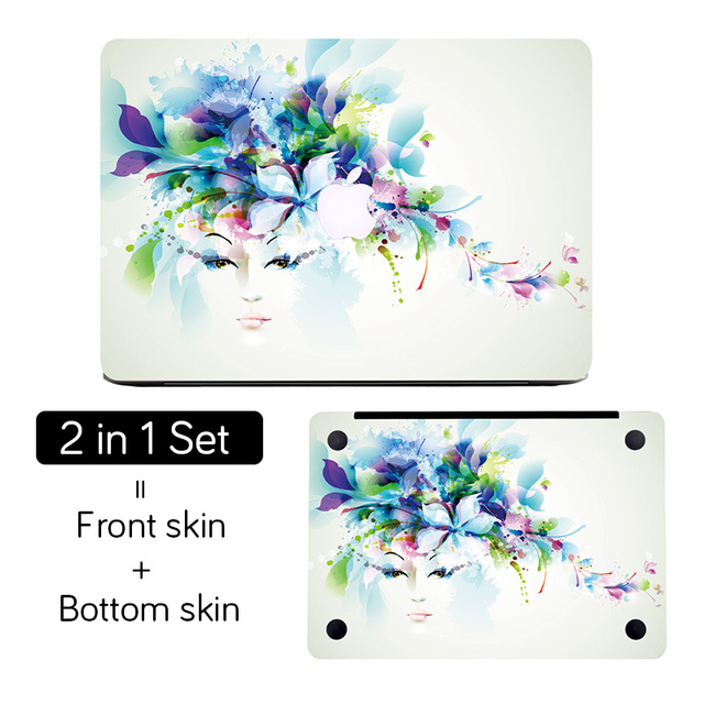 half off b05aa f2fde Flower Girl Top+Bottom Full Cover Skin Laptop Sticker for Apple MacBook Air  Pro Retina 11