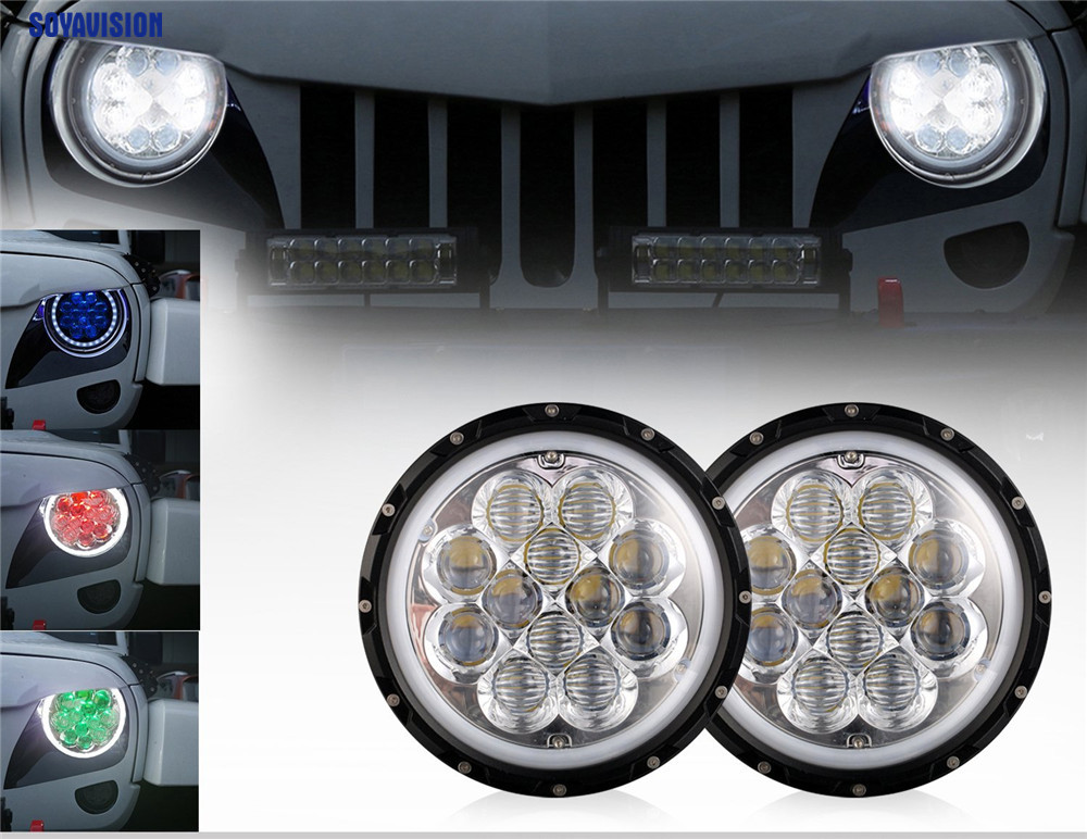 For 1997 2017 Jeep Wrangler Jk Tj Unlimited 7 80w Rgb Halo Car Headlights Spider 5d Drl Angel Eyes Bluetooth Remote In Light Embly From