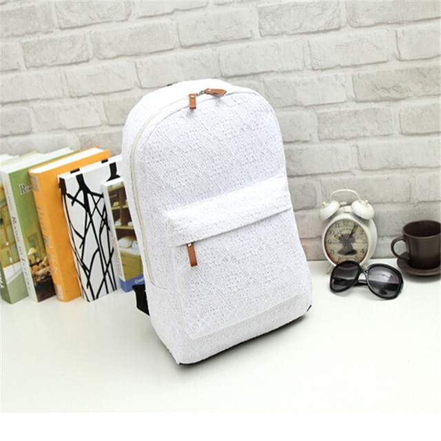 7def723e58ea BB-13 High Quality Fashion cute Pure White Lace canvas backpack women s  travel Preppy Style backpack brand school bags