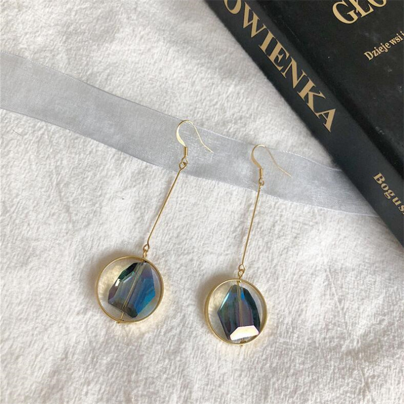 Punk Style Multicolor Crystal Drop Earrings For Women Charm Round Pendant Chic Jewelry Vintage Gold Color Long Dangle Earring