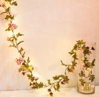 2 M 20 Led feuille fleur guirlande batterie fonctionner De Cuivre LED de corde féerique de lumières pour noël parti de décoration de mariage événement
