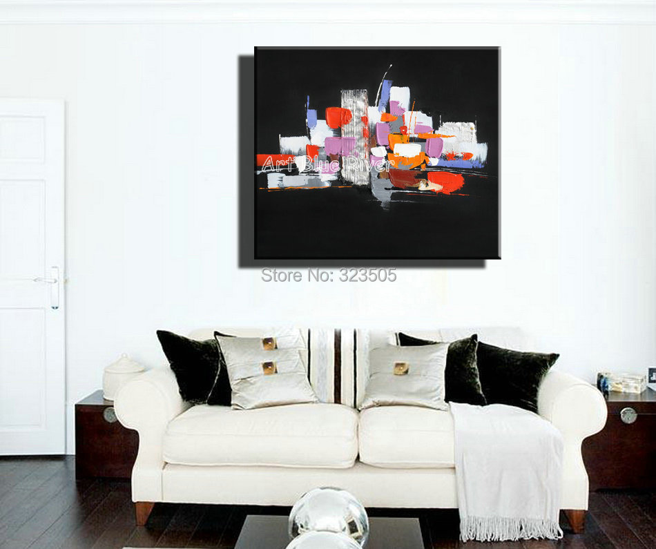 Large Abstract black with font b knife b font paint modern wall art canvas handmade oil
