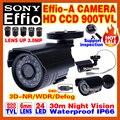 Real 1/3 sony ccd 900tvl effioa mini hd cctv câmera de vigilância Menu OSD 24led IR Night Vision 30 m têm Suporte IP66 À Prova D' Água