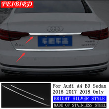 304 RVS Achterlichten Achterklep Kofferdeksel Molding Decoratie Streamer Cover Trim Fit Voor Audi A4 B9 Sedan 2016 2017 2018