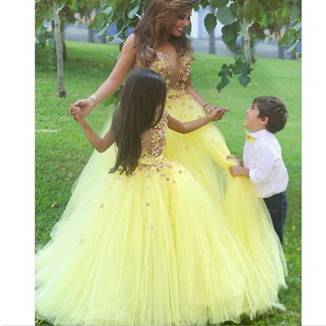 adc6e7b3ccc New Fairy Flower Girls  Dress Light Yellow Garden Petal Princess Ball Gown  Colorful Tulle Wedding