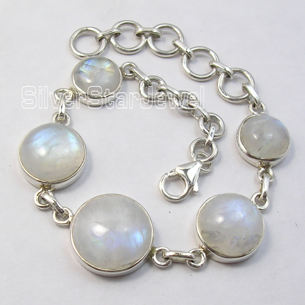 Chanti International Silver Amazing RAINBOW MOONSTONE DESIGNER Heavy Bracelet 8 Inches