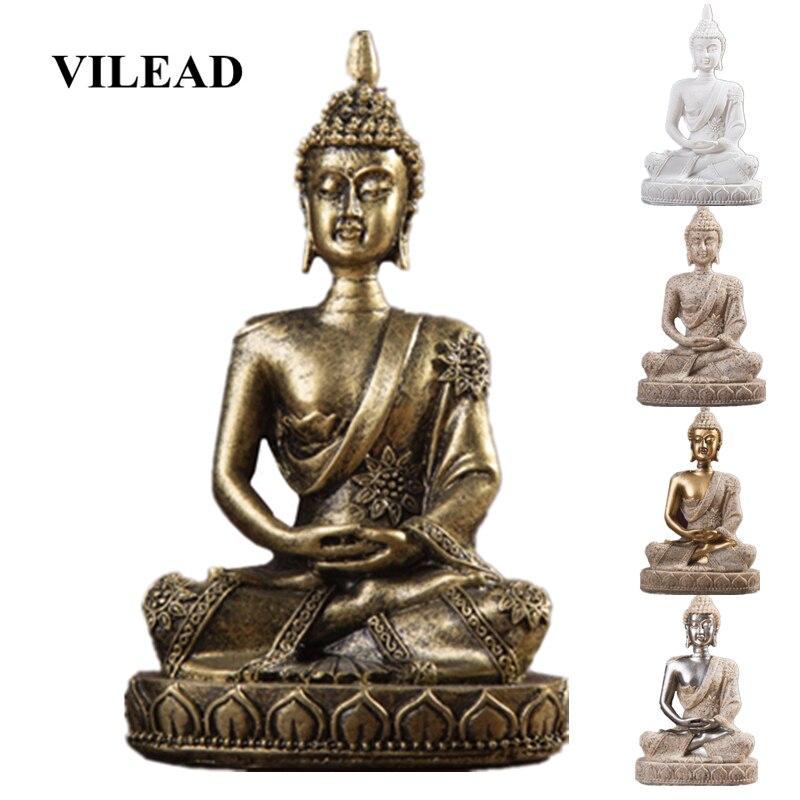Estatua de Buda Fengshui VILEAD de 11cm de piedra arenisca natural de la India escultura de Buda sentado figuritas Vintage decoración del hogar uso para acuario