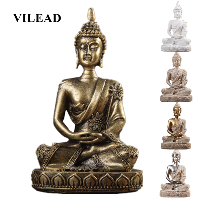 VILEAD 11cm Nature Sandstone India Buddha Statue Fengshui Sitting Buddha Sculpture Figurines Vintage Home Decor Use for Aquarium