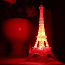 50pcs Romantic Valentine's day Large Colorful Luminous Nightlight Eiffel Tower In Paris Led Lamp Home Decoration ZA4679(China)