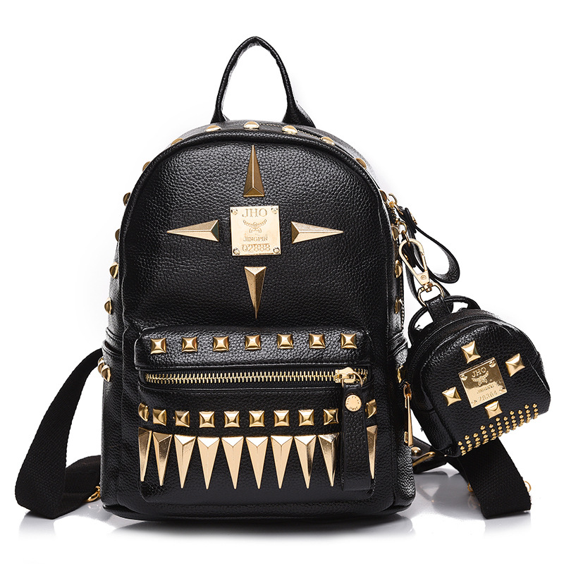 Fashion Backpack Womens School Student Back Pack Female Backpacks Rucksack Girls New bag rivets tide cool punk book small bags