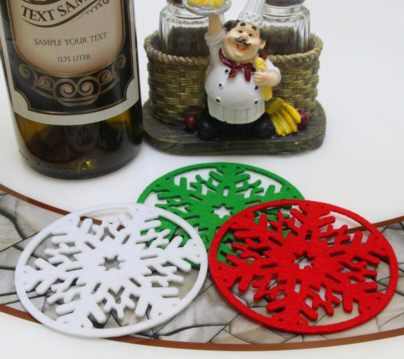 6 pcs Merry Christmas Snowflakes Cup Mat Christmas Decorations Dinner Party Dish Tray Pad for Home Decor