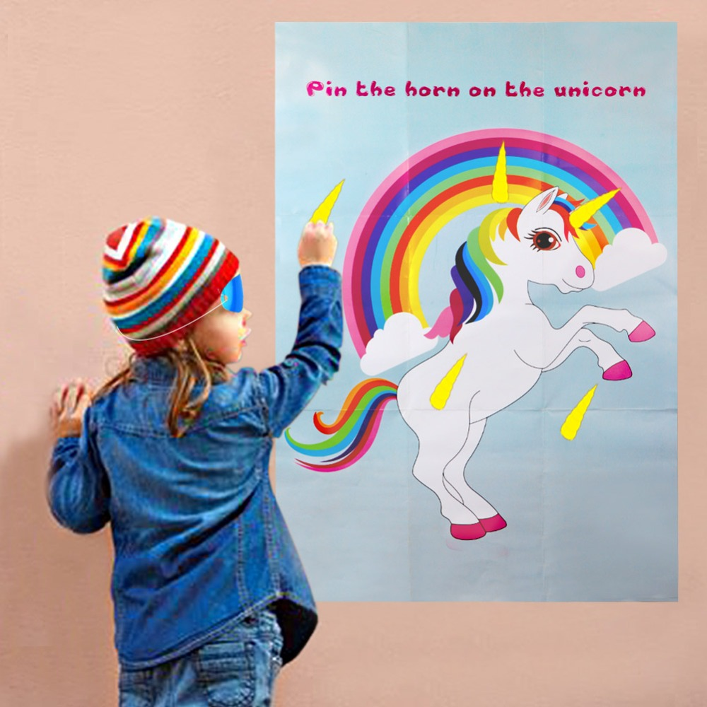 OurWarm Unicorn Party Game Pin The Horn On The Unicorn 75x51cm Paper Wall Stickers Home Decor Unicorn Birthday Party Supplies
