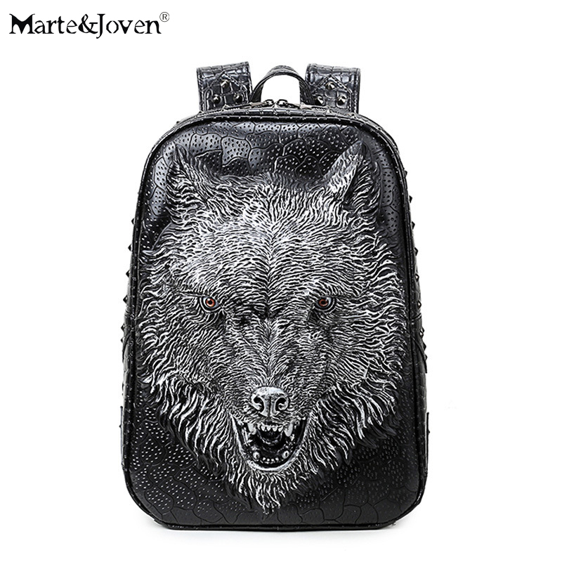 Brand Antique PU Leather Black 3D Lion Head Backpack Women Men Personality Rivet Animal Schoolbag Large Capacity Laptop Backpack