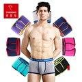 Nova marca de moda sexy de algodão dos pugilistas calções marca mens underwear u convex boxer cuecas plus size 3 pçs/lote xmas gift atacado