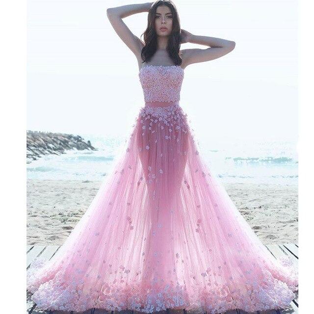 newest 3a939 8b53f US $129.0  Sexy Romantico Fiore Rosa vestiti Lunghi Da Promenade Arabia  Saudita Appliques di Tulle Abito Da Sera 2017 Senza Spalline Floreale Beach  ...