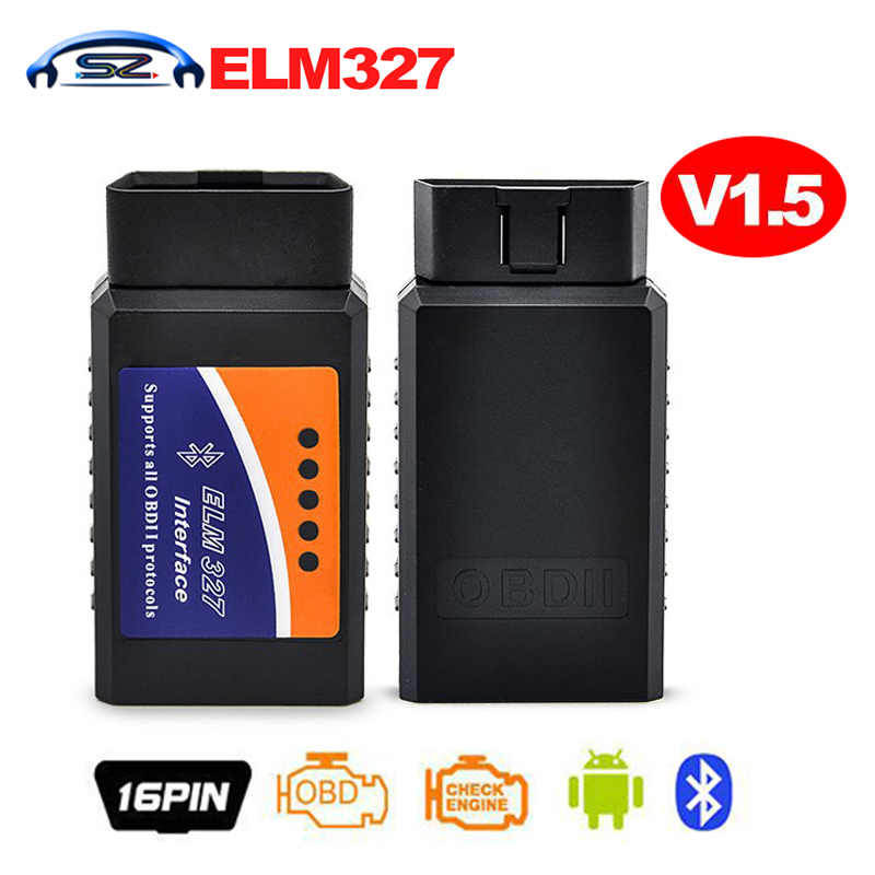 Prix pour Haute qualité ELM327 V1.5 Bluetooth OBD2 ELM 327 V 1.5 25K80 puce OBDII Lecteur de Code Outil De Diagnostic Mini Scanner OBD 2 scan outil