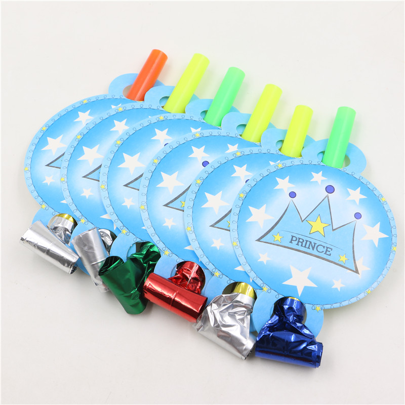 6pcs Blowouts Whistles Blue Prince Birthday Party