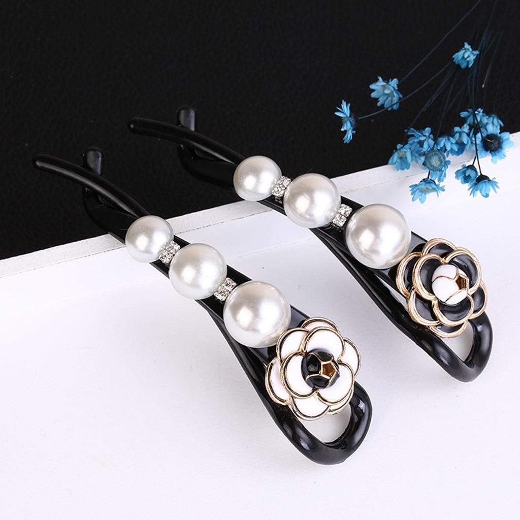 Elegant Pearl Flower Banana Clips Headwear Barrette Ponytail Holder