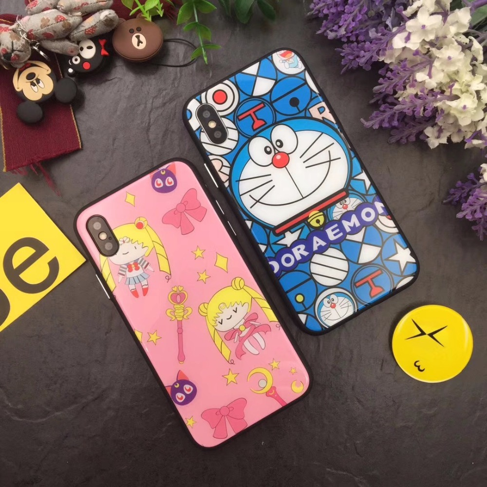 Japan Stylish Cartoon Doraemon Tempered Glass Anti-shock Glossy Back Cover Case For iPhoneX 8/6s 7plus Skinny Shell Protection