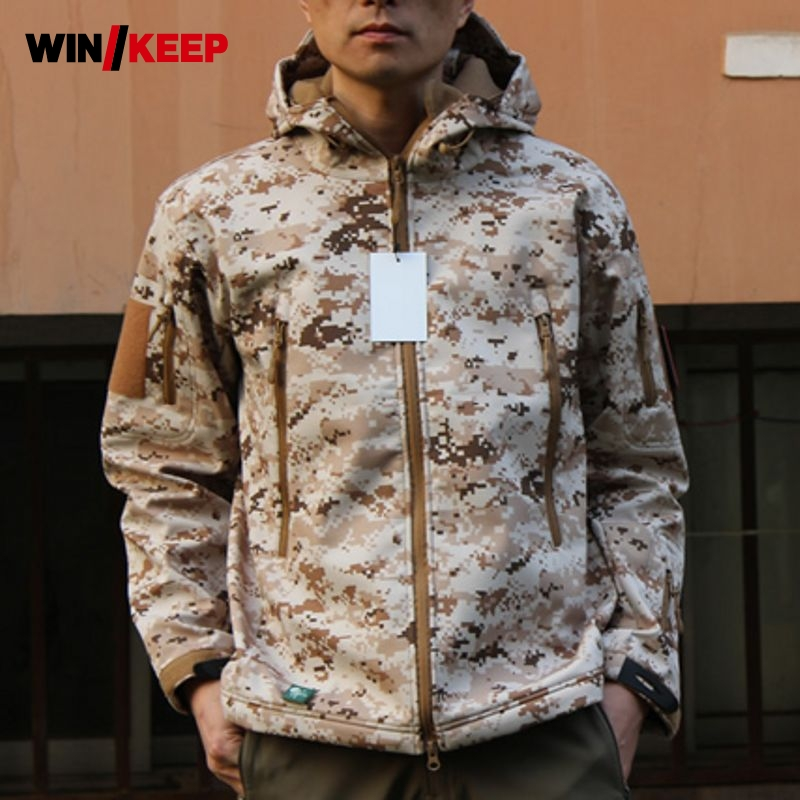 Man Winter Waterproof Hunting Fishing Camping Camouflage Outdoor Hiking Jacket Suit Army Military Hood Softshell Pant Plus Size man fishing winter waterproof warmthtrekking camping hiking outdoor jacket pant set sports fleece jacket softshell trouser