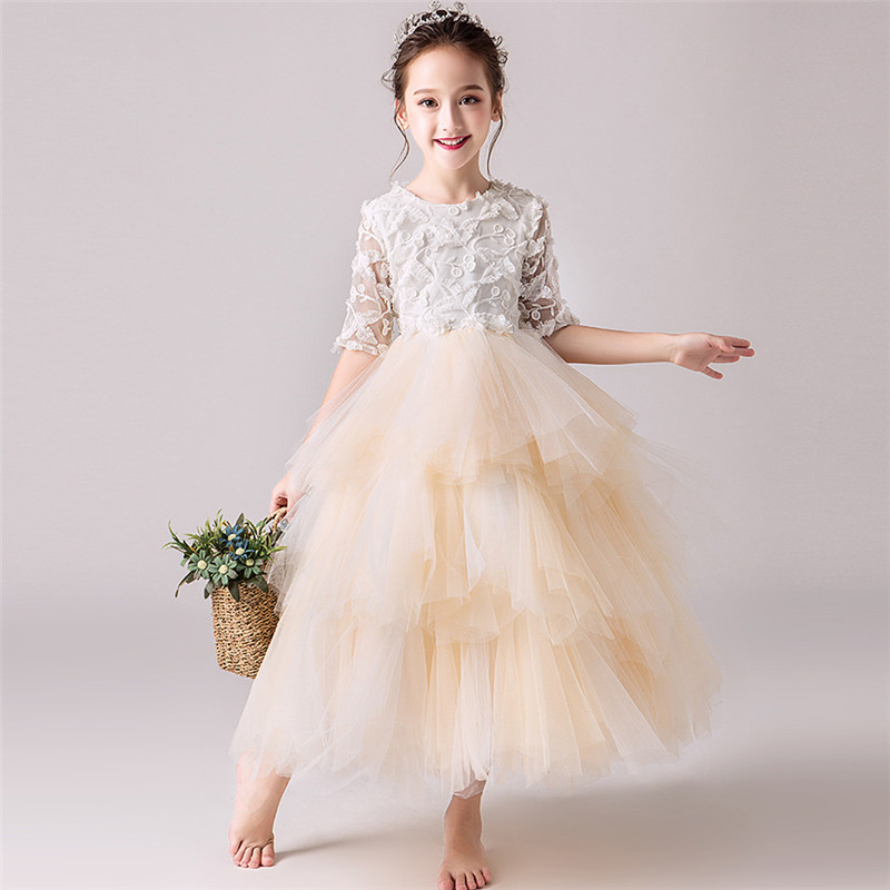 Autumn Luxury Children Girls Tutu Wedding Princess Long Dress Kids Junior Birthday Party Piano Pageant Prom Mesh Layers Dress autumn girls children s kids baby long sleeve lace mesh tutu patchwork basic dresses princess wedding party dress vestidos s5691