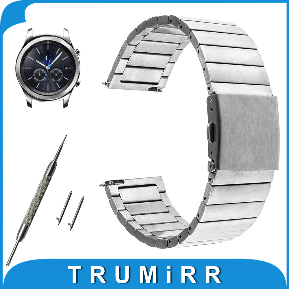 Quick Release Stainless Steel Watchband 22mm for Samsung Gear S3 Classic Frontier Garmin Fenix Chronos Watch Band Wrist Strap garmin fenix chronos steel