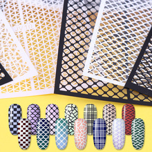 1 Sheet Ultra-thin Adhesive Nail Vinyls Fish Scale Plaid Net Line Hollow 3D Nail Stencil Sticker Nail Art Decoration