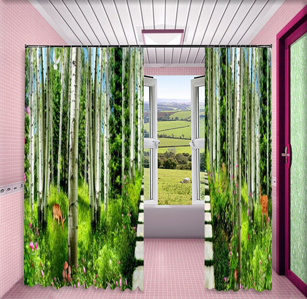 Aangepaste Gordijnen Groene Bamboe Kreek Water Pruim Herten 3d Landschap Gordijn Decoratie Indoor High End Beauty - 3