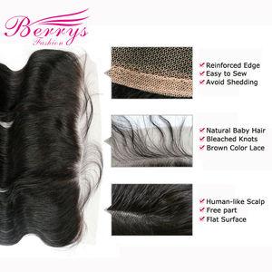 Image 3 - Extensiones de cabello humano ondulado con encaje Frontal brasileño, 13x4, Berrys, prearrancados