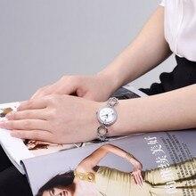 Fashion Small Stainless Steel Silver Women's Watches Luxury Rhinestone
