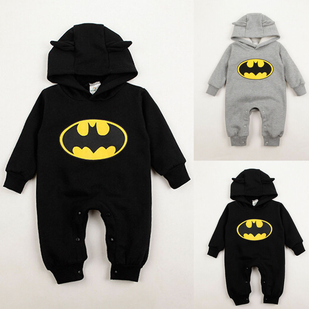c59dcb5eb1ec 2016 Autumn Winter Hoodies for Boys Kids Cute Newborn Baby Infant Boy  Clothes Batman Romper Outfits One pieces 3 24Months-in Rompers from Mother  & Kids on ...