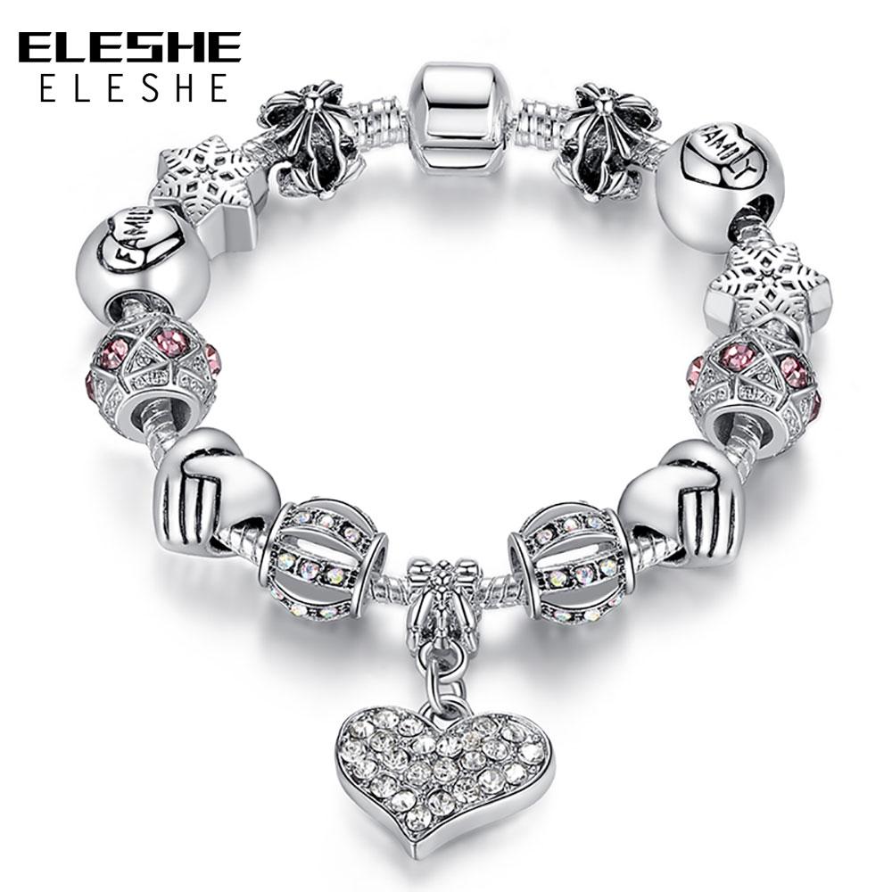 ELESHE, роскошная фирма, женский браслет из уникального серебра 925 пробы, кристалл, очаровательный браслет для женщин, сделай сам, бусы, браслеты, ювелирное изделие, подарок