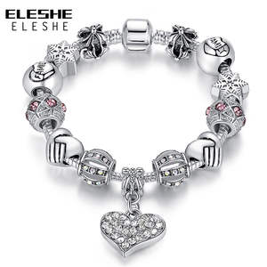 ELESHE Silver Charm Bracelet for Women Beads Jewelry Gift