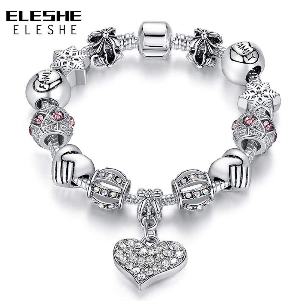 ELESHE Mulheres De Luxo Da Marca Pulseira 925 de Prata Original Contas de Cristal Charm Bracelet para As Mulheres DIY Pulseiras & Bangles Jóias Presente
