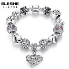 806eef9c66c9 ELESHE pulsera 925 de las mujeres de la marca cristalina de plata única del  encanto para las mujeres DIY pulseras y brazaletes r.