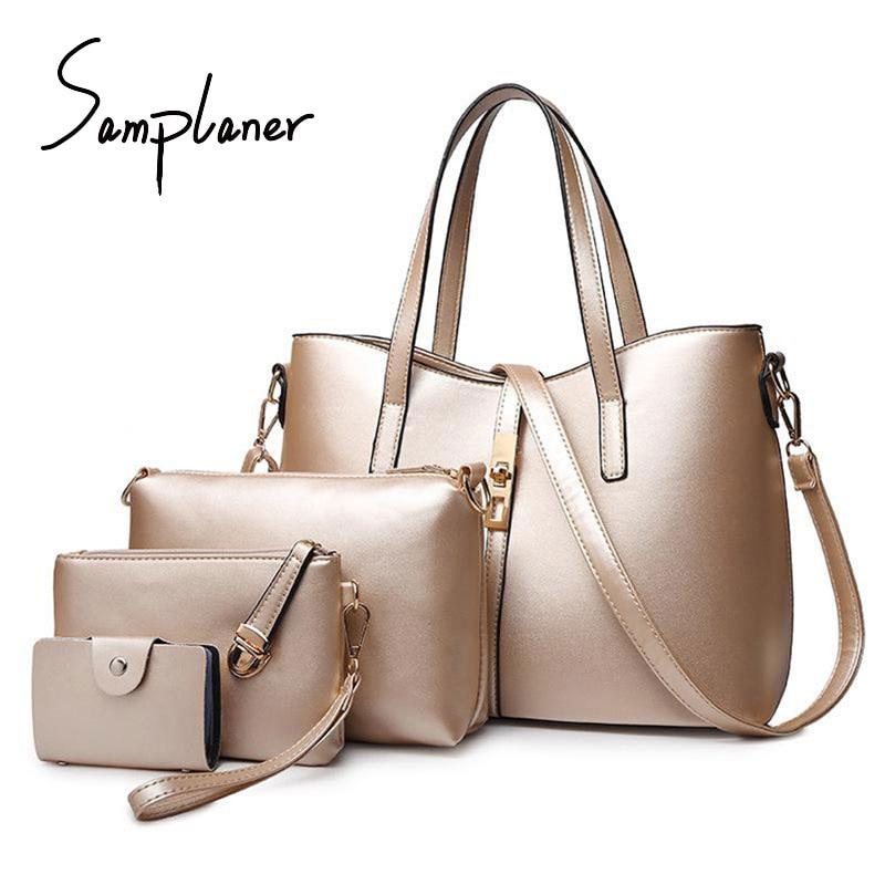4 PCS/Set Women Bag Sets Fashion Big Totes Ladies Shoulder Bag Leather Gold Female Handbags Purse Clutch Women Composite Bags