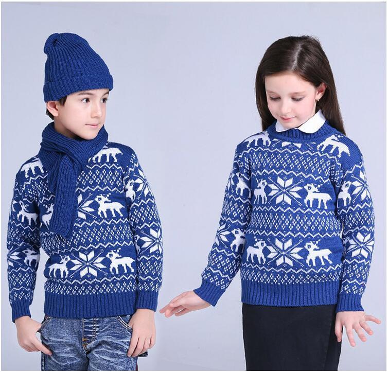 все цены на Sweater For School Boys Girls Winter Christmas Sweaters Children Kids Knitted Pullover Warm Outerwear O neck Sweater Cardigan 21 онлайн