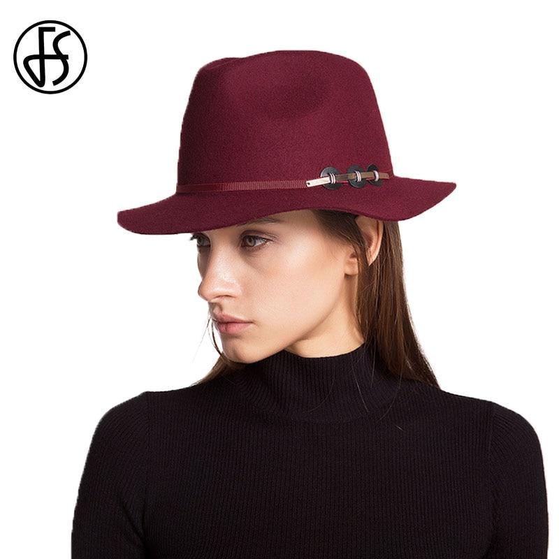 aa7becde6c0 FS Fedora Hat Women Men Winter Vintage Solid Australia Wool Fedoras Panama Hats  Wide Brim Vintage Jazz Cap Trilby Black Unisex-in Fedoras from Apparel ...