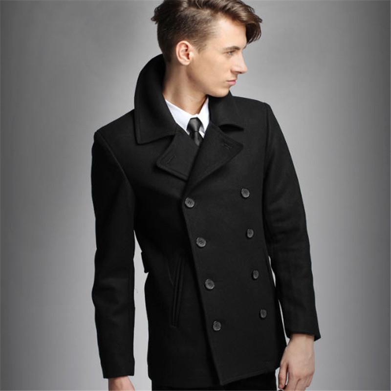 Mens Pea Coat Black Double Breasted Wool Peacoat Slim Fit Winter ...