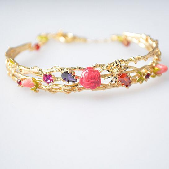 Les Nereides Enamel Bracelets Gold Plated Red Pink Flowers Bracelet For Women Lady Luxury Jewelry Gift Wholesale Good Quality