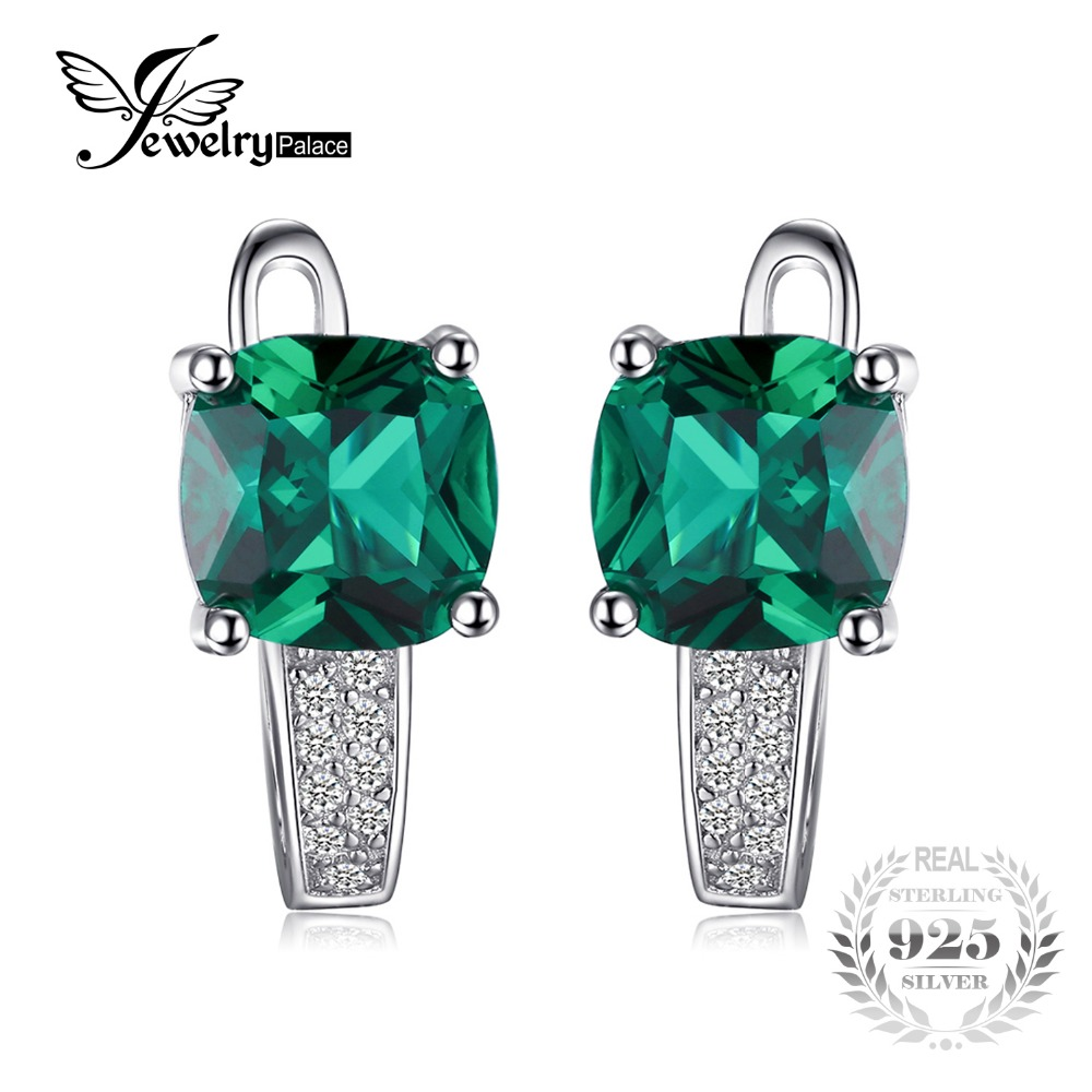 JewelryPalace Cushion 3 1ct Created Emerald Clip On Earrings For Girl 925 Sterling Silver Earrings Fine