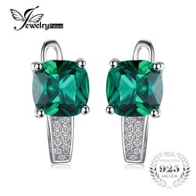 JewelryPalace Cushion 3.1 ct Created Emerald Clip On Earrings For Girl 925 Sterling Silver Earrings Fine Jewelry Best Accessories