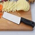 Kartoffel Französisch Braten Cutter Edelstahl Gezackten Klinge Schneiden gemüse Obst slicer Welle Messer Chopper Küche Zubehör-in Manuelle Pommes-frites-Schneider aus Heim und Garten bei