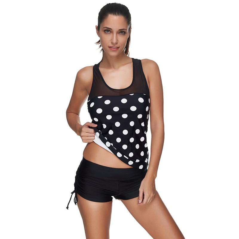 2018 New Women Sexy Vintage Dots Print Boxer Shorts Mesh Piecing Split Two-Piece Swimwear Swimsuit Bikini Sets Plavky Plus Size saucony men s inferno split shorts