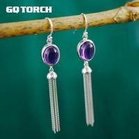 S925 Sterling Silver Long Tassels Earrings Inlaid Natural Amethyst Elegant Earrings For Women Fine Jewelry