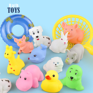 Image 2 - 15 teile/beutel Bad Spielzeug Tiere Schwimmen Wasser Spielzeug Mini Bunte Weiche Schwimm Gummi Ente Squeeze Sound Lustige Geschenk Für Baby kinder