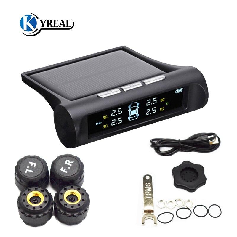 imágenes para Indicador de Presión de Neumáticos Inalámbrico 4 Sensor Externo TPMS del coche Solar Energía Pantalla LCD Coche Sistema de Alarma de Coche Electrónica