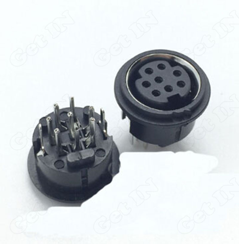 50pcs Mini <font><b>8Pins</b></font> PS2 Jacks <font><b>DIN</b></font> S Terminal Connectors PS2 8P Socket 180Degree image